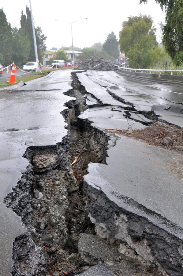 Terremoto de Christchurch - ponte da avenida de Fitzgerald imagens de stock