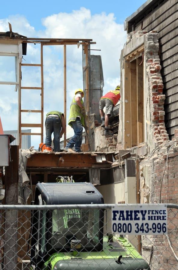 Terremoto de Christchurch - trabajadores de construcción fotografía de archivo