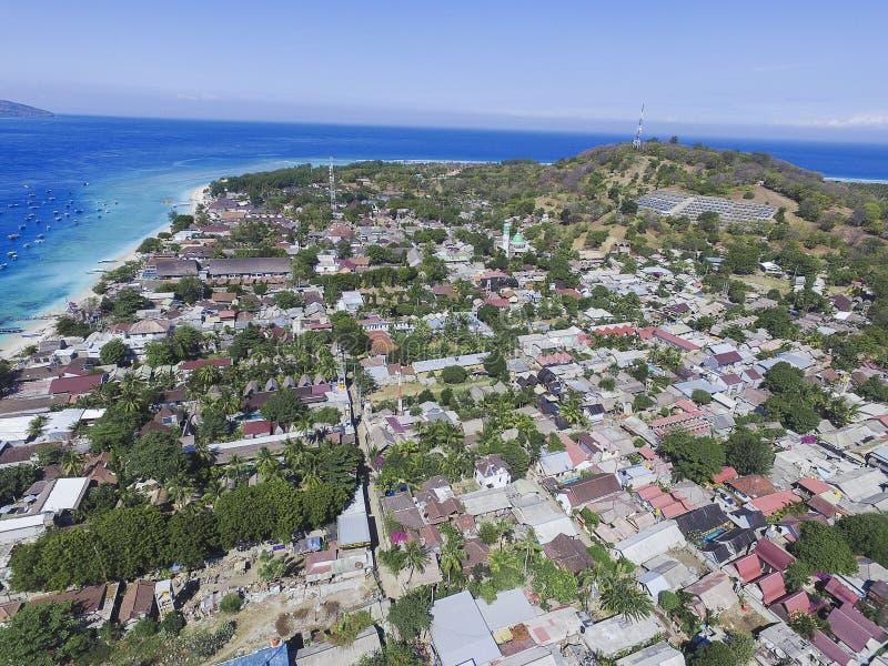 Terremoto de Lombok en el frome de Gili Trawangan arriba imágenes de archivo libres de regalías