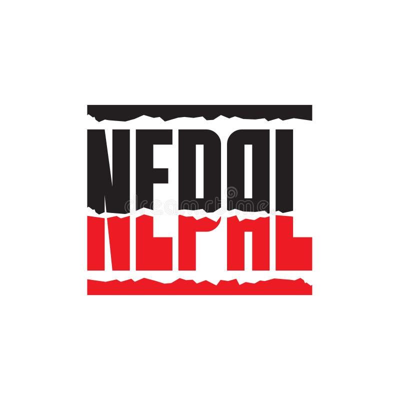 Terremoto de Nepal - vector a ilustração do conceito do sinal da palavra Palavra da ajuda de Nepal no fundo branco ilustração stock