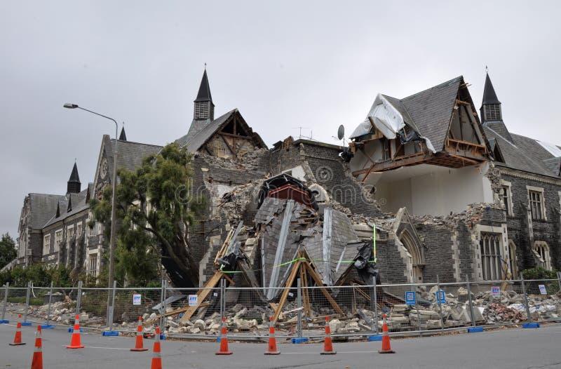 Terremoto di Christchurch - quadrato di Cranmer fotografia stock