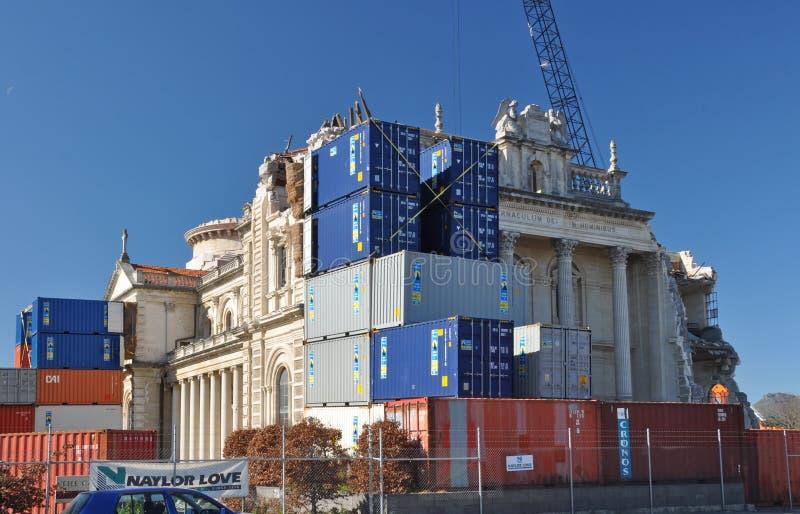 Terremoto di Christchurch - ripristino della cattedrale immagini stock