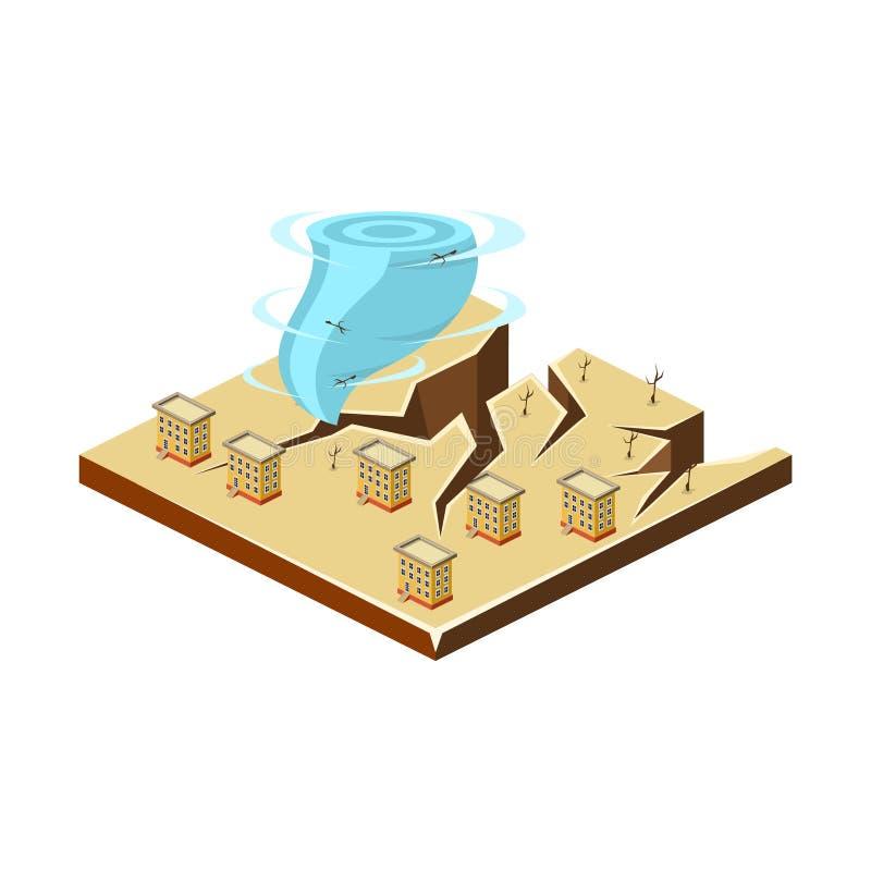 Terremoto e furacão Ícone da catástrofe natural Ilustração do vetor ilustração do vetor
