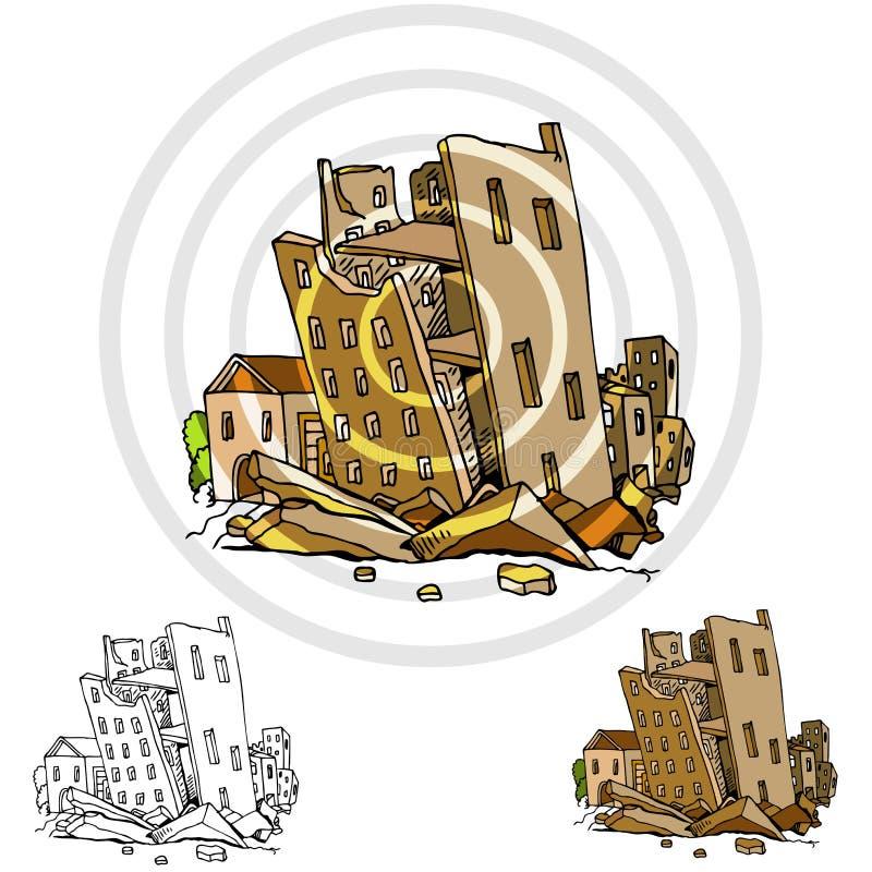 Terremoto principal da cidade ilustração stock