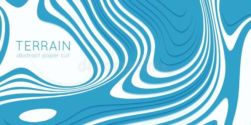 Terreno abstrato do corte do papel azul Os sclices de papel com sombra macia formam os montes 3d Projeto de Minimalistic Ilustraç ilustração do vetor