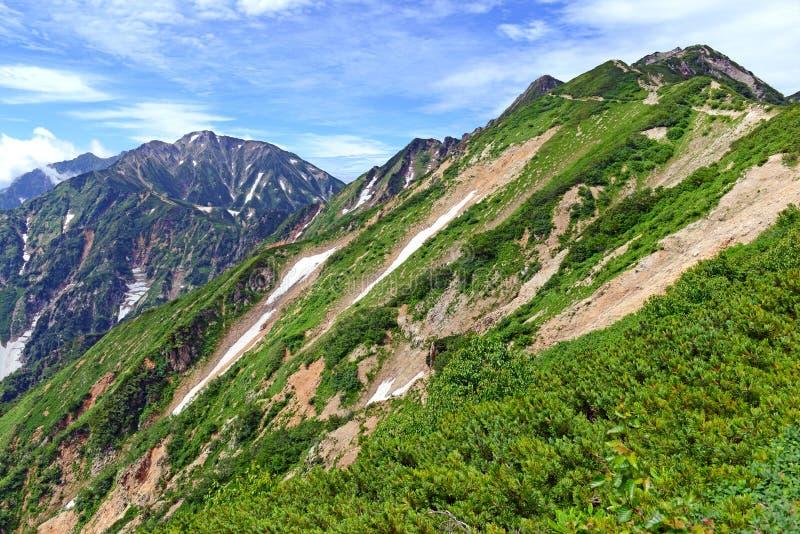 Terreno alpino en el soporte Karamatsu, montañas de Japón fotografía de archivo libre de regalías
