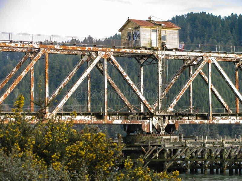 Terreno boscoso scenico, paesaggio del fiume con il vecchio ponte della ferrovia fotografie stock