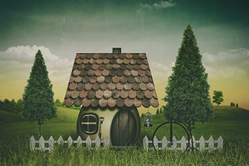 Terreno coltivabile e casa di bellezza illustrazione di stock