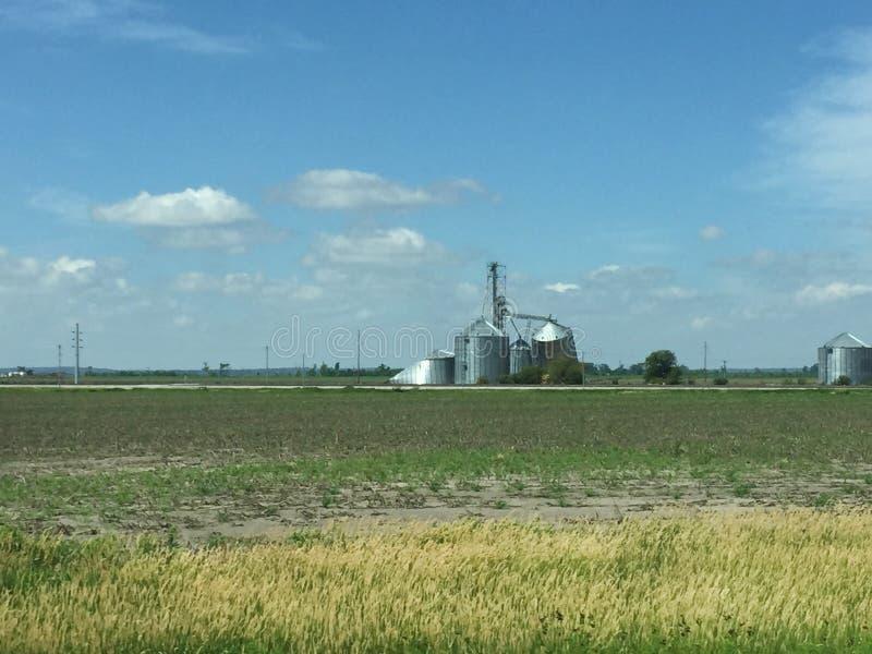 Terreno coltivabile sommerso e recipienti distrutti del grano nello Iowa lungo 29 da uno stato all'altro fotografie stock
