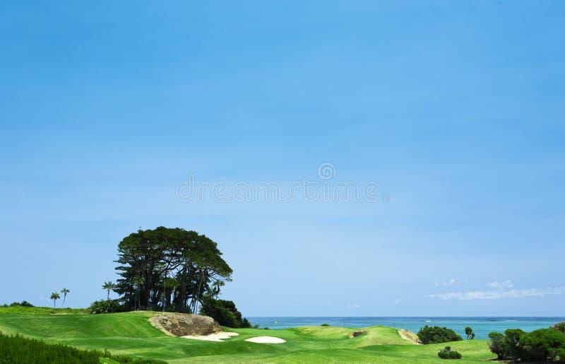 Terreno da golf dal mare fotografie stock