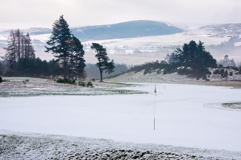 Terreno da golf in Scozia su una mattina di inverno fotografia stock