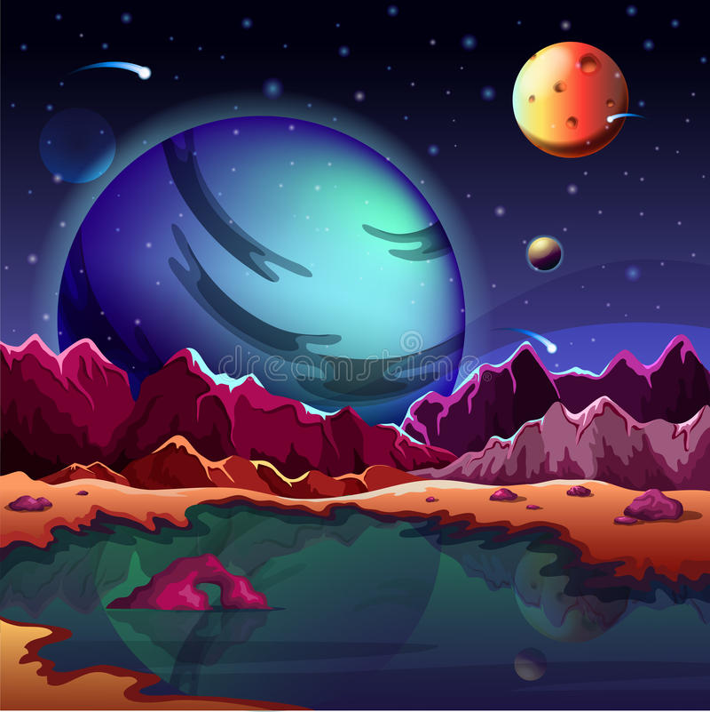 Terreno da paisagem ou do cenário do planeta dos desenhos animados ilustração royalty free