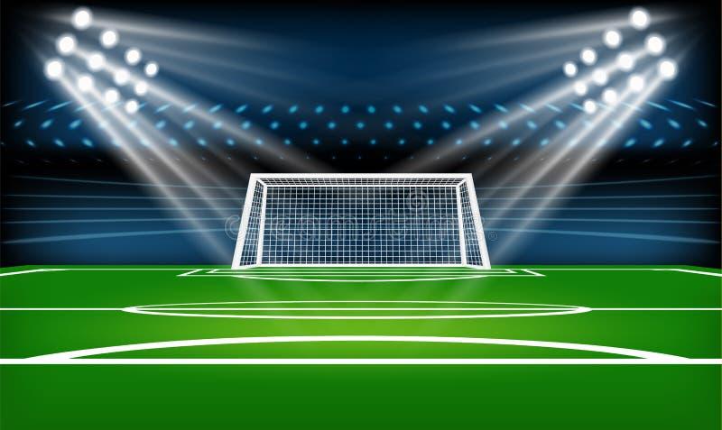 Terreno de juego del fútbol o del fútbol Diviértase el juego El proyector del estadio de fútbol y el fondo del marcador con brill libre illustration