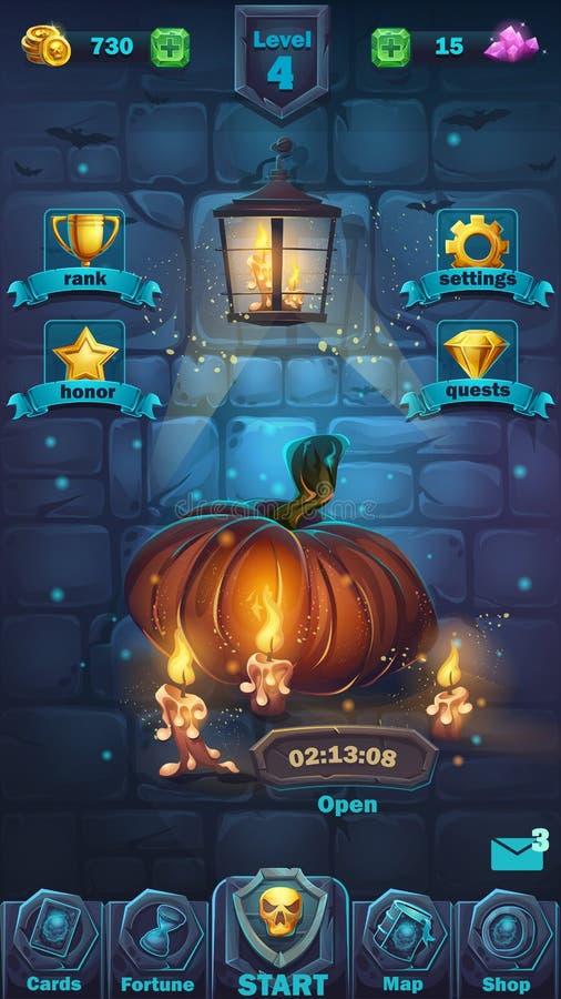 Terreno de juego del GUI de la batalla del monstruo stock de ilustración