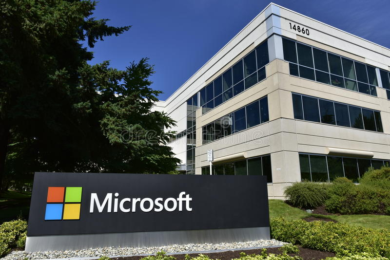 Terreno ocidental de Microsoft, Bellevue, estado Washington, EUA fotografia de stock royalty free