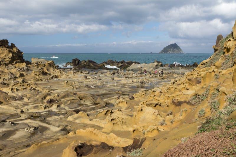 Terreno roccioso speciale e formazioni rocciose in Keelung fotografia stock libera da diritti