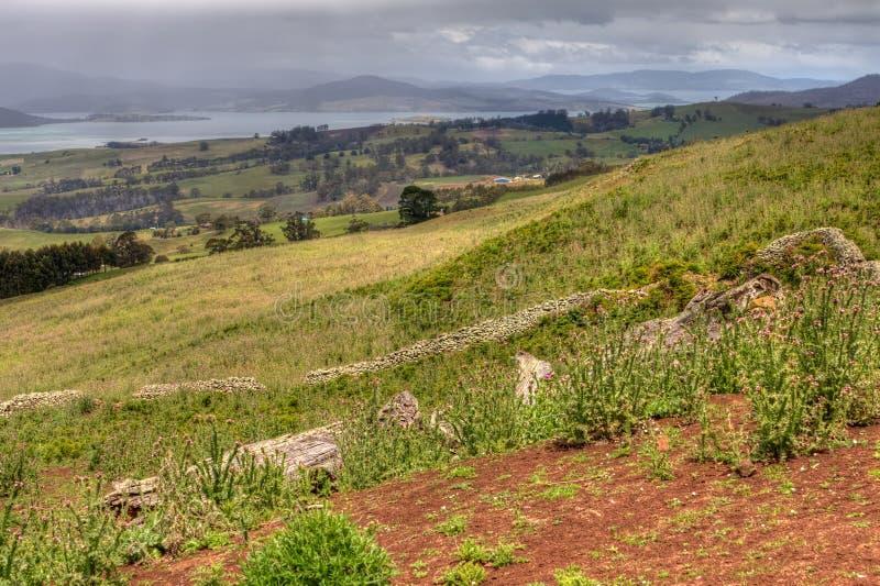 Terres cultivables au compartiment de Marion, Tasmanie, Australie photos stock