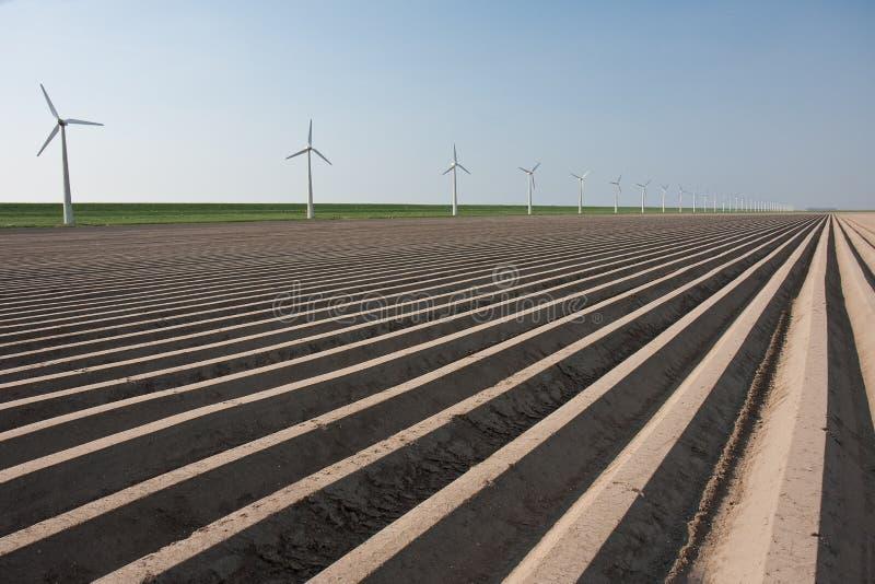 Terres cultivables en Hollandes, source de attente image stock