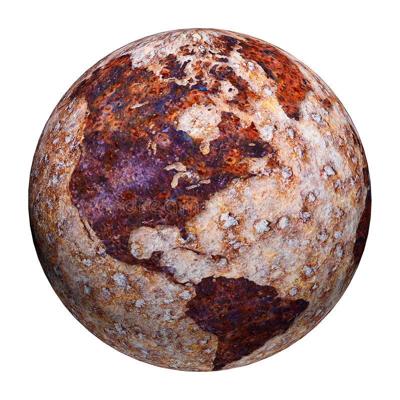 Terrestrial globe - corrosion stains on iron royalty free illustration