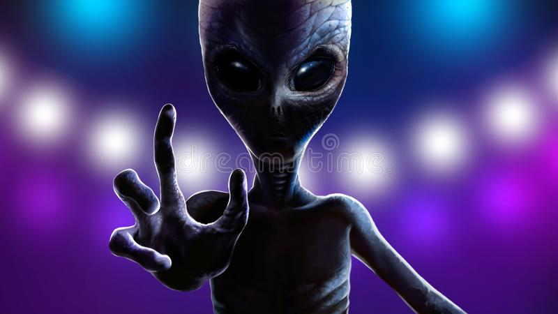 Terrible alien is reaching out to grab you. 2D art stock illustration