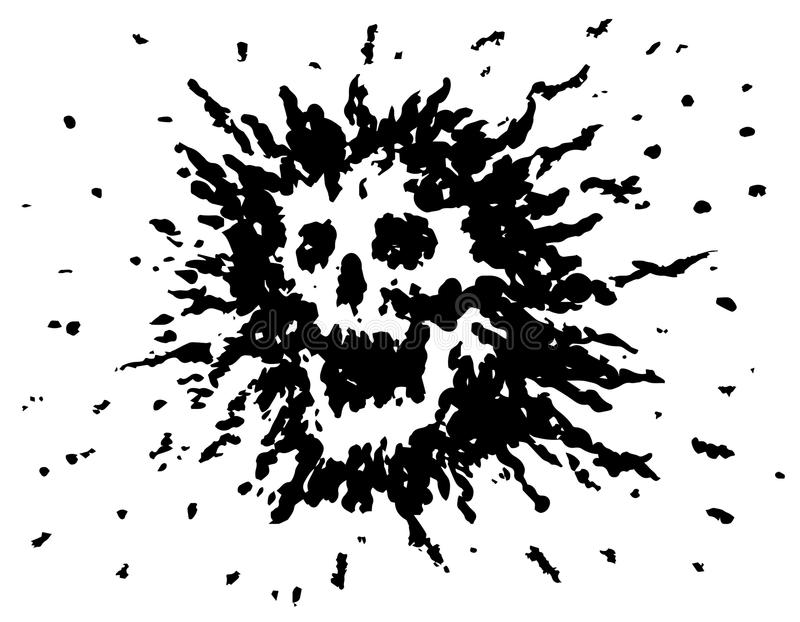 Terrible blot skull. Vector illustration. Scary character head. Genre of horror vector illustration