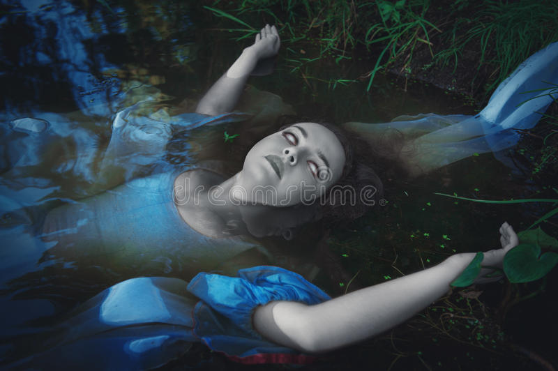 Terrible dead ghost woman royalty free stock photo