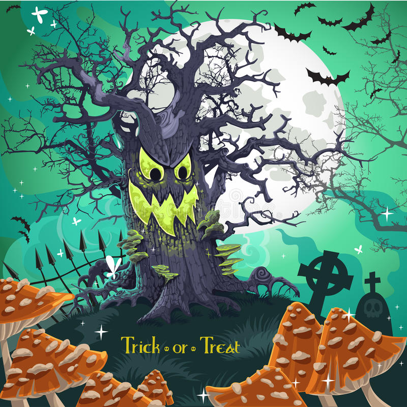 Download Terrible Halloween Cartoon Tree With A Grin Stock Vector - Image: 27222675