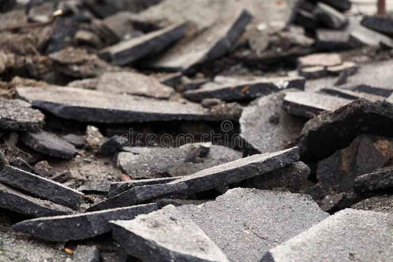 Terrible mess of road remains after some kind of catastrophe. Close-up royalty free stock images