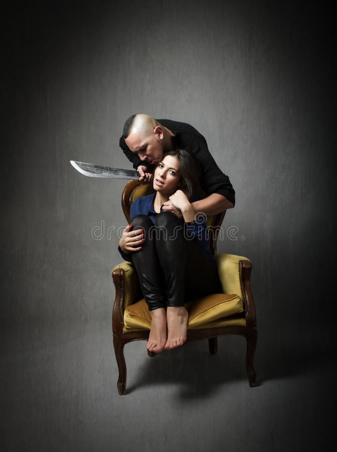Terrible murder with hostage stock photography