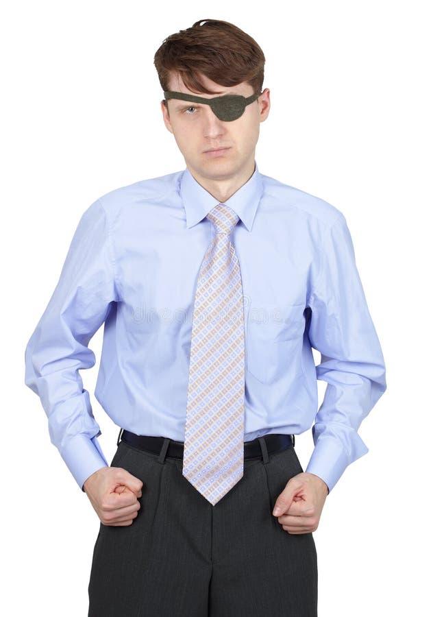 Terrible one-eyed man isolated on white. Terrible one-eyed man isolated on a white background stock images