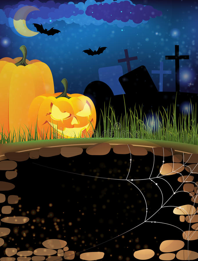 Terrible Pumpkins On A Night Cemetery Stock Photos
