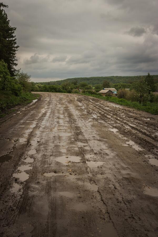 Russian Federation. Terrible roads in rural areas in the Russian Federation stock photo