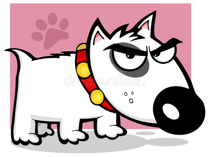 Terrier de toro enojado del perro stock de ilustración