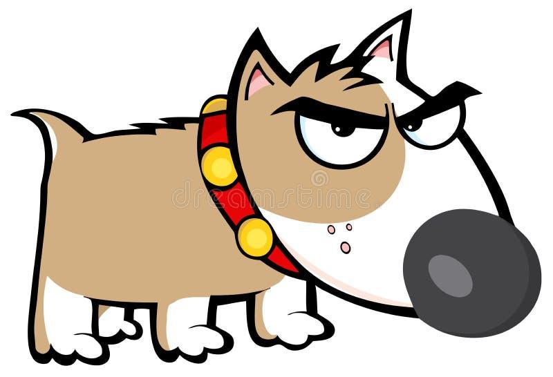 Terrier de touro marrom irritado do cão ilustração do vetor