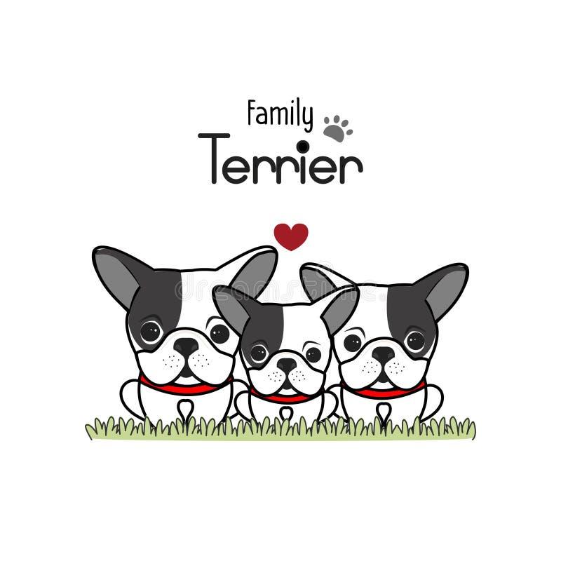 Terrier-de Vader Mother van de Hondfamilie en Pasgeboren Baby Vector illustratie stock afbeelding
