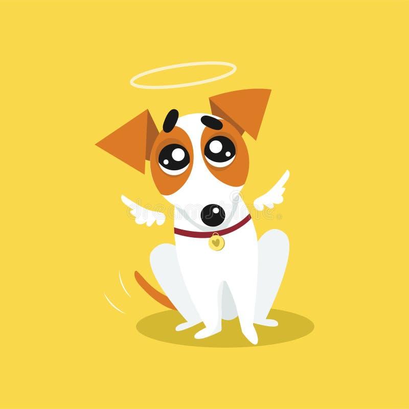 Terrier lindo de Russell del enchufe con alas y un halo, ejemplo divertido del ángel del vector de la historieta del carácter del ilustración del vector