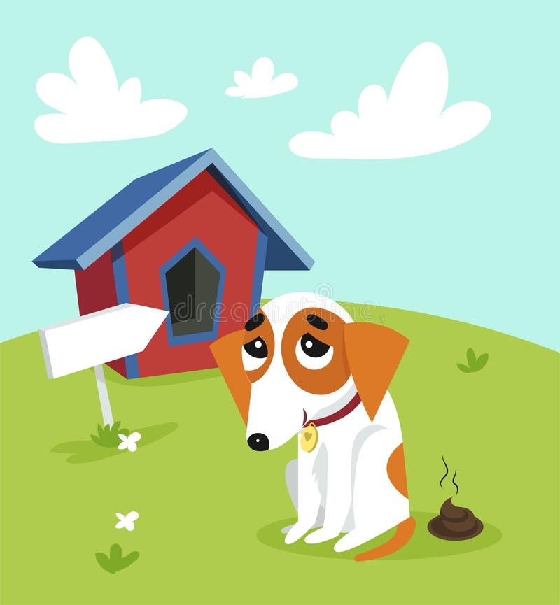 Terrier lindo de Russell del enchufe pooping delante de su perrera en jardín en el ejemplo del vector del día de verano en estilo ilustración del vector