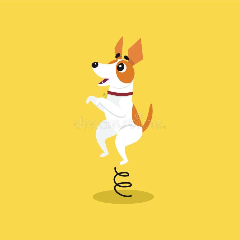 Terrier lindo de Russell del enchufe que salta en el trampolín, ejemplo divertido del vector de la historieta del carácter del an libre illustration