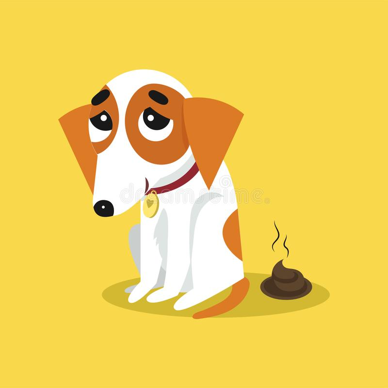 Terrier lindo pooping, ejemplo divertido de Russell del enchufe del vector de la historieta del carácter del animal de animal dom ilustración del vector