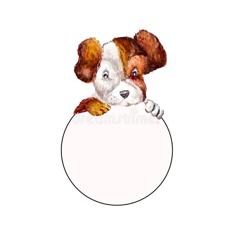 Terrier pequeno de russell do jaque do cachorrinho que pendura suas patas sobre uma bandeira branca do círculo Quadro vazio redon ilustração royalty free