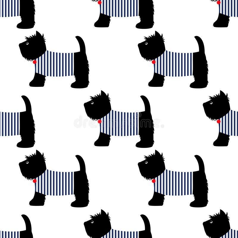 Terrier scozzese in un modello senza cuciture della maglietta del marinaio Cani svegli sull'illustrazione bianca del fondo royalty illustrazione gratis