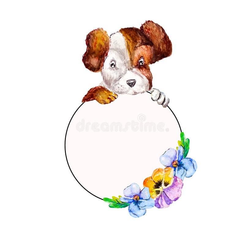 Terrier sveglio di russell della presa del cucciolo che appende le loro zampe più sulla struttura floreale con le viole del pensi illustrazione di stock