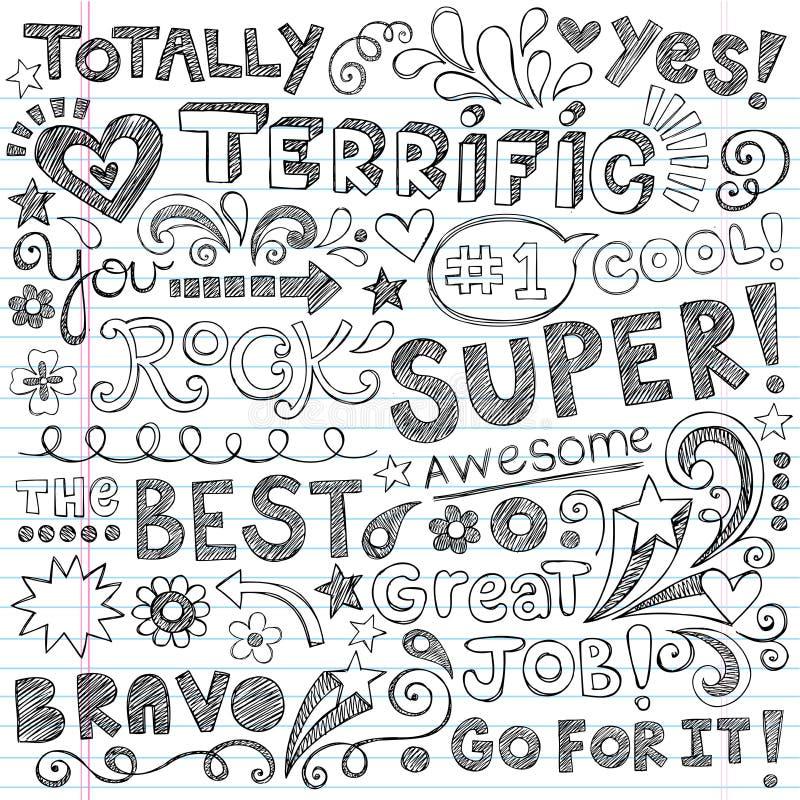 Download Terrific Work Praise Phrases Sketchy Doodle Encour Stock Vector - Illustration of brilliant, encouragement: 32094193