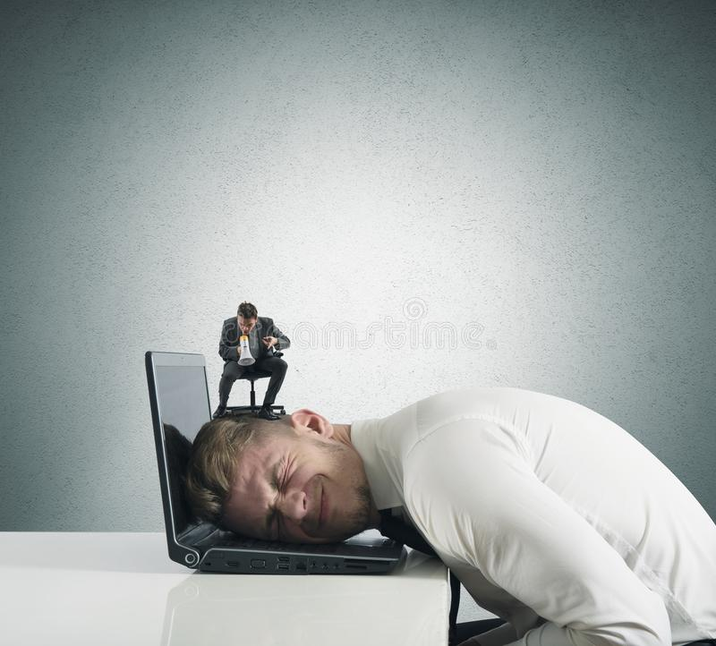 Terrified by the boss stock photography