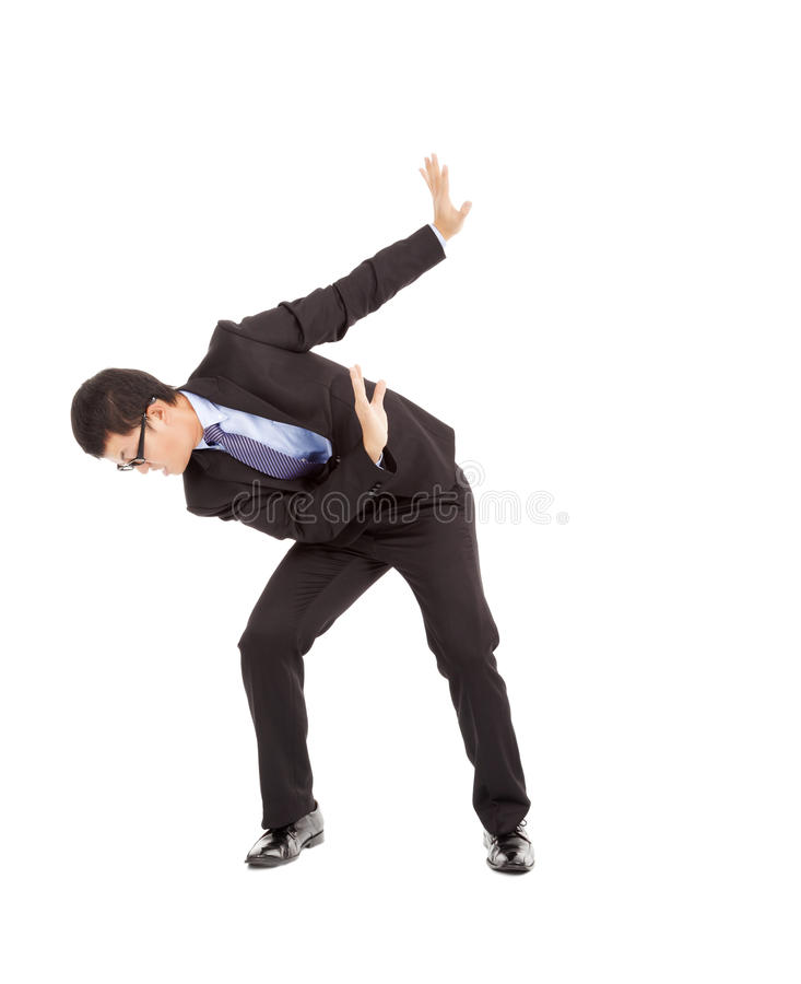 Terrified businessman raised hands to stop something royalty free stock images