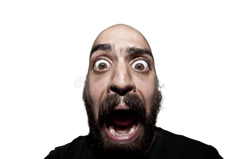 Terrified man with a beard