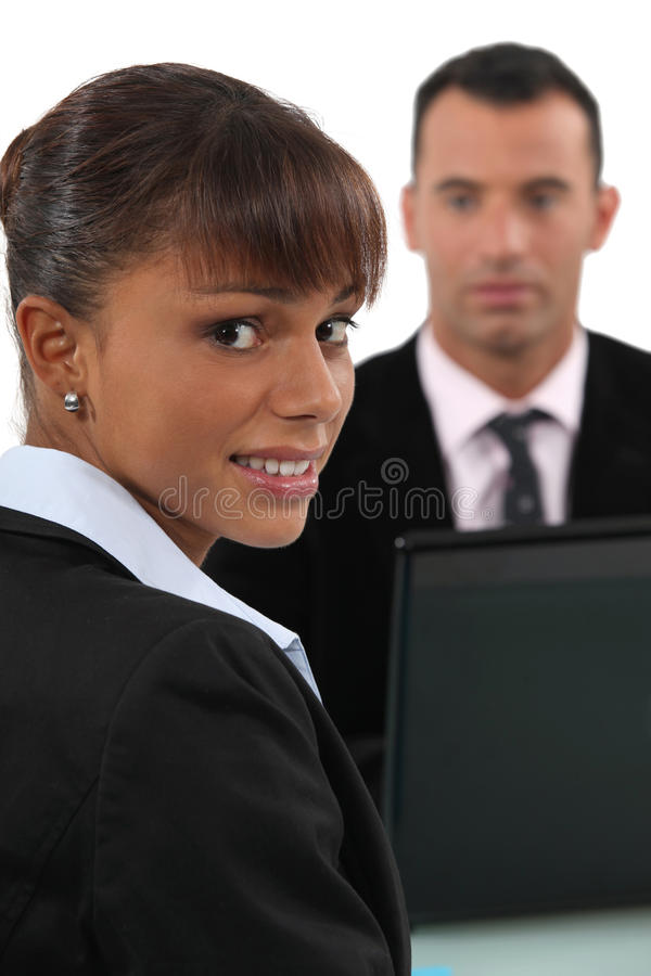A terrified woman. A terrified women thinks she might get fired royalty free stock photo