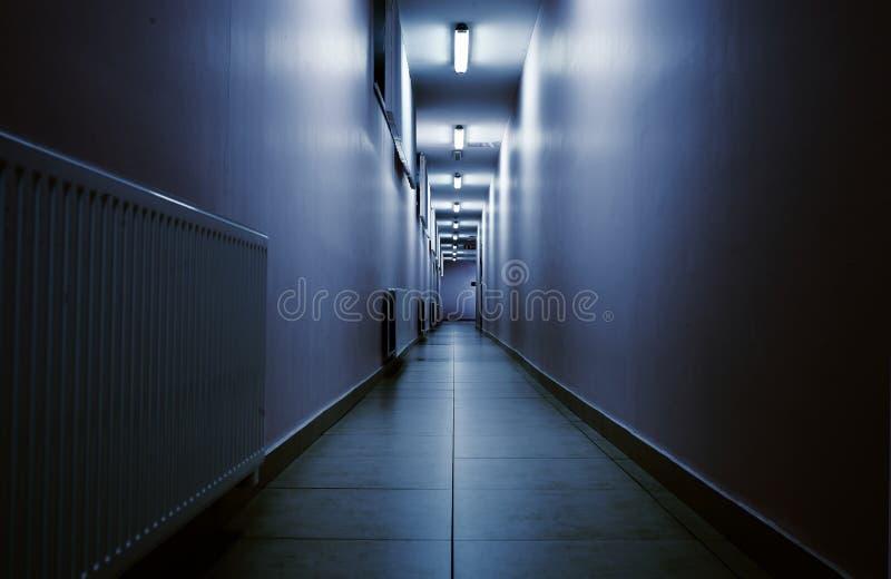Terrifying night corridor in perspective.  stock photos