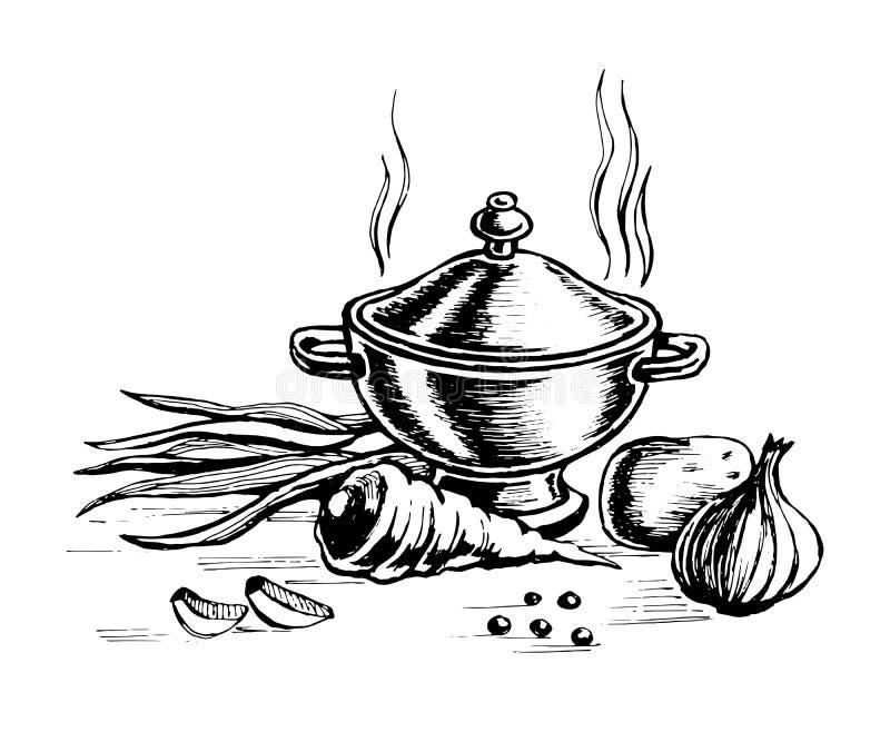 Terrine en voor het koken van groenten vector illustratie