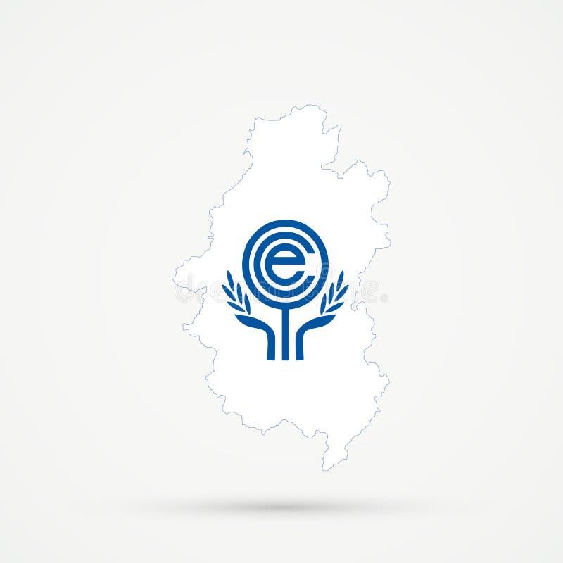 Território étnico Shoria montanhoso de Shors, mapa em cores da bandeira da organização de cooperação econômica ECO, vetor editáve ilustração stock